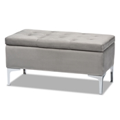 Baxton Studio Mabel Modern and Contemporary Transitional Grey Velvet Fabric Upholstered Silver Finished Storage Ottoman Baxton Studio restaurant furniture, hotel furniture, commercial furniture, wholesale living room furniture, wholesale storage ottoman, classic storage ottoman