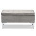 Baxton Studio Mabel Modern and Contemporary Transitional Grey Velvet Fabric Upholstered Silver Finished Storage Ottoman - IEWS-20093-Grey Velvet/Silver-Otto