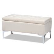 Baxton Studio Mabel Modern and Contemporary Transitional Beige Velvet Fabric Upholstered Silver Finished Storage Ottoman Baxton Studio restaurant furniture, hotel furniture, commercial furniture, wholesale living room furniture, wholesale storage ottoman, classic storage ottoman