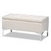 Baxton Studio Mabel Modern and Contemporary Transitional Beige Velvet Fabric Upholstered Silver Finished Storage Ottoman