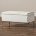 Baxton Studio Mabel Modern and Contemporary Transitional Beige Velvet Fabric Upholstered Silver Finished Storage Ottoman - IEWS-20093-Beige Velvet/Silver-Otto
