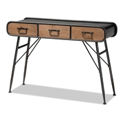 Baxton Studio Santo Modern and Contemporary Industrial Black Metal and Oak Brown Finished Wood 3-Drawer Entryway Console Table Baxton Studio restaurant furniture, hotel furniture, commercial furniture, wholesale living room furniture, wholesale console table, classic console table