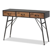 Baxton Studio Ariana Modern and Contemporary Industrial Black and Oak Brown Finished Wood 3-Drawer Metal Console Table Baxton Studio restaurant furniture, hotel furniture, commercial furniture, wholesale living room furniture, wholesale console table, classic console table