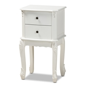 Baxton Studio Sophia Classic and Traditional French White Finished Wood 2-Drawer Nightstand Baxton Studio restaurant furniture, hotel furniture, commercial furniture, wholesale bedroom furniture, wholesale night stand, classic night stand