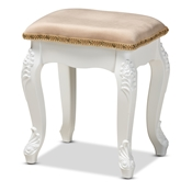 Baxton Studio Isabella Classic and Traditional French Beige Velvet Fabric Upholstered and White Finished Wood Ottoman Stool Baxton Studio restaurant furniture, hotel furniture, commercial furniture, wholesale living room furniture, wholesale storage ottoman, classic storage ottoman
