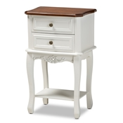 Baxton Studio Darla Classic and Traditional French White and Cherry Brown Finished Wood 2-Drawer Nightstand Baxton Studio restaurant furniture, hotel furniture, commercial furniture, wholesale bedroom furniture, wholesale night stand, classic night stand