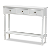 Baxton Studio Calvin Classic and Traditional French Farmhouse White Finished Wood 3-Drawer Entryway Console Table Baxton Studio restaurant furniture, hotel furniture, commercial furniture, wholesale living room furniture, wholesale console table, classic console table