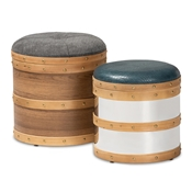 Baxton Studio Caleb Modern and Contemporary Glam Grey Fabric and Blue Alligator Faux Leather Upholstered 2-Piece Wood and Metal Storage Ottoman Set Baxton Studio restaurant furniture, hotel furniture, commercial furniture, wholesale living room furniture, wholesale ottoman, classic ottoman