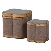 Baxton Studio Marilyn Modern and Contemporary Transitional Grey and Brown Fabric Upholstered 2-Piece Clover Shaped Storage Ottoman Set Baxton Studio restaurant furniture, hotel furniture, commercial furniture, wholesale living room furniture, wholesale ottoman, classic ottoman