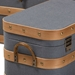 Baxton Studio Jonathon Modern and Contemporary Transitional Grey Fabric Upholstered and Oak Brown Finished 3-Piece Storage Trunk Set - IER87R524-3PC Trunk Set