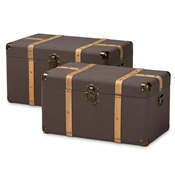 Baxton Studio Stephen Modern and Contemporary Transitional Dark Brown Fabric Upholstered and Oak Brown Finished 2-Piece Storage Trunk Set Baxton Studio restaurant furniture, hotel furniture, commercial furniture, wholesale living room furniture, wholesale storage ottoman, classic storage ottoman
