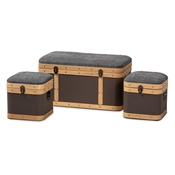 Baxton Studio Clarence Modern and Contemporary Transitional Dark Grey and Dark Brown Fabric Upholstered Oak Brown Finished 3-Piece Storage Ottoman Trunk Set Baxton Studio restaurant furniture, hotel furniture, commercial furniture, wholesale living room furniture, wholesale storage ottoman, classic storage ottoman