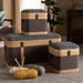 Baxton Studio Clarence Modern and Contemporary Transitional Dark Grey and Dark Brown Fabric Upholstered Oak Brown Finished 3-Piece Storage Ottoman Trunk Set - IER87R521-3PC Trunk Set