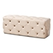 Baxton Studio Jasmine Modern Contemporary Glam and Luxe Beige Velvet Fabric Upholstered Button Tufted Bench Ottoman