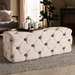 Baxton Studio Jasmine Modern Contemporary Glam and Luxe Beige Velvet Fabric Upholstered Button Tufted Bench Ottoman - IELD19A119-1-Beige Velvet-Otto