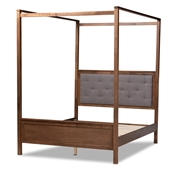 Baxton Studio Natasha Modern and Contemporary Grey Fabric Upholstered and Walnut Brown Finished Wood King Size Platform Canopy Bed Baxton Studio restaurant furniture, hotel furniture, commercial furniture, wholesale bedroom furniture, wholesale king, classic king