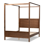 Baxton Studio Veronica Modern and Contemporary Walnut Brown Finished Wood King Size Platform Canopy Bed Baxton Studio restaurant furniture, hotel furniture, commercial furniture, wholesale bedroom furniture, wholesale king, classic king