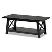 Baxton Studio Germain Modern and Contemporary Black Finished Wood Coffee Table Baxton Studio restaurant furniture, hotel furniture, commercial furniture, wholesale living room furniture, wholesale coffee table, classic coffee table