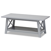Baxton Studio Germain Modern and Contemporary Light Grey Finished Wood Coffee Table Baxton Studio restaurant furniture, hotel furniture, commercial furniture, wholesale living room furniture, wholesale coffee table, classic coffee table