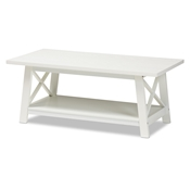 Baxton Studio Germain Modern and Contemporary White Finished Wood Coffee Table Baxton Studio restaurant furniture, hotel furniture, commercial furniture, wholesale living room furniture, wholesale coffee table, classic coffee table