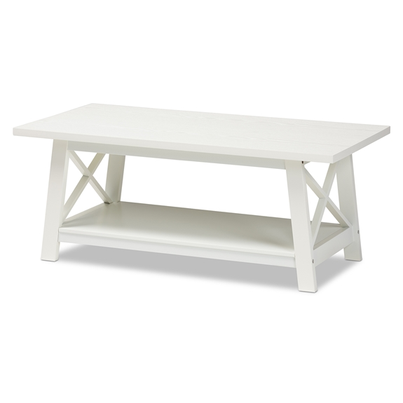 Baxton Studio Germain Modern and Contemporary White Finished Wood Coffee Table