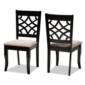 Baxton Studio Mael Modern and Contemporary Sand Fabric Upholstered and Espresso Brown Finished Wood 2-Piece Dining Chair Set