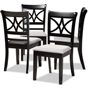 Baxton Studio Clarke Modern and Contemporary Grey Fabric Upholstered and Espresso Brown Finished Wood 4-Piece Dining Chair Set