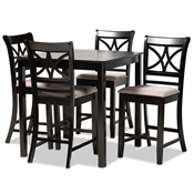 Baxton Studio Chandler Modern and Contemporary Sand Fabric Upholstered and Espresso Brown Finished Wood 5-Piece Counter Height Pub Dining Set Baxton Studio restaurant furniture, hotel furniture, commercial furniture, wholesale bar furniture, wholesale pub sets, classic pub sets