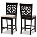 Baxton Studio Devon Modern and Contemporary Sand Fabric Upholstered and Espresso Brown Finished Wood 2-Piece Counter Height Pub Chair Set - IERH310P-Sand/Dark Brown-PC