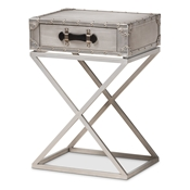 Baxton Studio William Modern French Industrial Silver Metal 1-Drawer Nightstand Baxton Studio restaurant furniture, hotel furniture, commercial furniture, wholesale bedroom furniture, wholesale night stand, classic night stand