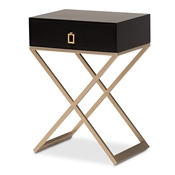 Baxton Studio Patricia Modern and Contemporary Black Finished Wood and Brass-Tone Metal 1-Drawer Nightstand Baxton Studio restaurant furniture, hotel furniture, commercial furniture, wholesale bedroom furniture, wholesale night stand, classic night stand