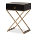 Baxton Studio Patricia Modern and Contemporary Black Finished Wood and Brass-Tone Metal 1-Drawer Nightstand - IEJY1956-NS