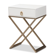 Baxton Studio Patricia Modern and Contemporary White Finished Wood and Brass-Tone Metal 1-Drawer Nightstand Baxton Studio restaurant furniture, hotel furniture, commercial furniture, wholesale bedroom furniture, wholesale night stand, classic night stand