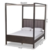 Baxton Studio Natasha Modern and Contemporary Grey Fabric Upholstered and Dark Grey Oak Finished Wood Queen Size Platform Canopy Bed - IEMG0021-2-Gray/Green Gray-Queen