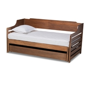 Baxton Studio Jameson Modern and Transitional Walnut Brown Finished Expandable Twin Size to King Size Daybed with Storage Drawer Baxton Studio restaurant furniture, hotel furniture, commercial furniture, wholesale bedroom furniture, wholesale twin, classic twin