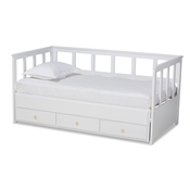 Baxton Studio Kendra Modern and Contemporary White Finished Expandable Twin Size to King Size Daybed with Storage Drawers Baxton Studio restaurant furniture, hotel furniture, commercial furniture, wholesale bedroom furniture, wholesale twin, classic twin
