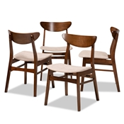 Baxton Studio Parlin Mid-Century Modern Transitional Light Beige Fabric Upholstered and Walnut Brown Finished Wood 4-Piece Dining Chair Set