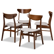 Baxton Studio Parlin Mid-Century Modern Transitional Light Grey Fabric Upholstered and Walnut Brown Finished Wood 4-Piece Dining Chair Set