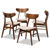 Baxton Studio Danica Mid-Century Modern Transitional Light Beige Fabric Upholstered and Walnut Brown Finished Wood 4-Piece Dining Chair Set