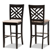 Baxton Studio Jason Modern and Contemporary Sand Fabric Upholstered and Espresso Brown Finished Wood 2-Piece Bar Stool Set Baxton Studio restaurant furniture, hotel furniture, commercial furniture, wholesale bar furniture, wholesale bar stools, classic bar stools