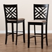 Baxton Studio Jason Modern and Contemporary Sand Fabric Upholstered and Espresso Brown Finished Wood 2-Piece Bar Stool Set - IERH317B-Sand/Dark Brown-BS