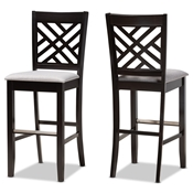 Baxton Studio Jason Modern and Contemporary Grey Fabric Upholstered and Espresso Brown Finished Wood 2-Piece Bar Stool Set Baxton Studio restaurant furniture, hotel furniture, commercial furniture, wholesale bar furniture, wholesale bar stools, classic bar stools