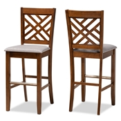 Baxton Studio Jason Modern and Contemporary Grey Fabric Upholstered and Walnut Brown Finished Wood 2-Piece Bar Stool Set Baxton Studio restaurant furniture, hotel furniture, commercial furniture, wholesale bar furniture, wholesale bar stools, classic bar stools