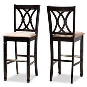 Baxton Studio Calista Modern and Contemporary Sand Fabric Upholstered and Espresso Brown Finished Wood 2-Piece Bar Stool Set Baxton Studio restaurant furniture, hotel furniture, commercial furniture, wholesale bar furniture, wholesale bar stools, classic bar stools