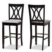 Baxton Studio Calista Modern and Contemporary Grey Fabric Upholstered and Espresso Brown Finished Wood 2-Piece Bar Stool Set Baxton Studio restaurant furniture, hotel furniture, commercial furniture, wholesale bar furniture, wholesale bar stools, classic bar stools