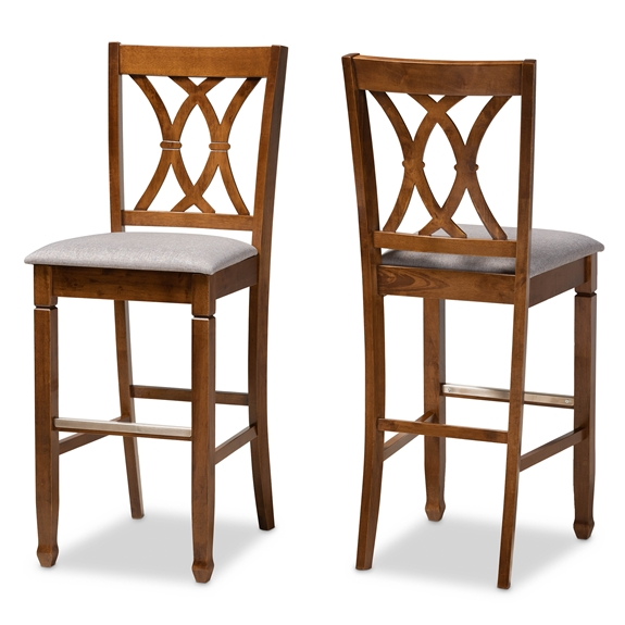 Baxton Studio Calista Modern and Contemporary Grey Fabric Upholstered and Walnut Brown Finished Wood 2-Piece Bar Stool Set