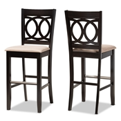 Baxton Studio Carson Modern and Contemporary Sand Fabric Upholstered and Espresso Brown Finished Wood 2-Piece Bar Stool Set Baxton Studio restaurant furniture, hotel furniture, commercial furniture, wholesale bar furniture, wholesale bar stools, classic bar stools