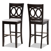 Baxton Studio Carson Modern and Contemporary Grey Fabric Upholstered and Espresso Brown Finished Wood 2-Piece Bar Stool Set Baxton Studio restaurant furniture, hotel furniture, commercial furniture, wholesale bar furniture, wholesale bar stools, classic bar stools