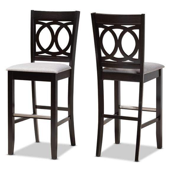 Baxton Studio Carson Modern and Contemporary Grey Fabric Upholstered and Espresso Brown Finished Wood 2-Piece Bar Stool Set