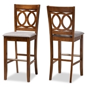 Baxton Studio Carson Modern and Contemporary Grey Fabric Upholstered and Walnut Brown Finished Wood 2-Piece Bar Stool Set Baxton Studio restaurant furniture, hotel furniture, commercial furniture, wholesale bar furniture, wholesale bar stools, classic bar stools
